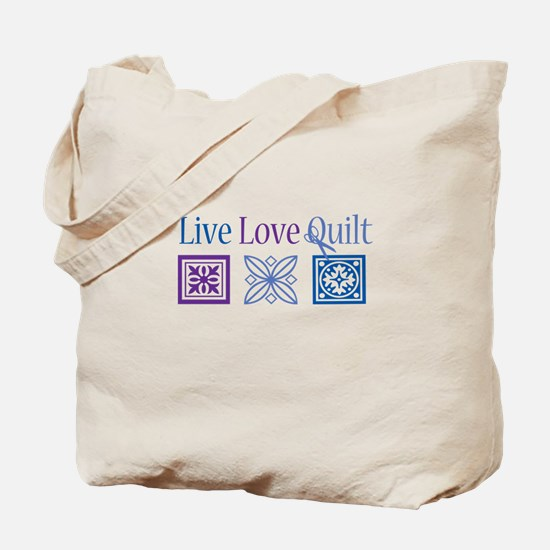 Live Love Quilt Tote Bag