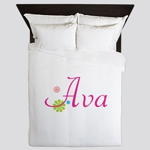 Ava Flowers Queen Duvet