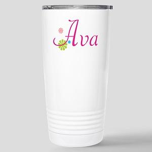 Ava Flowers Stainless Steel Travel Mug