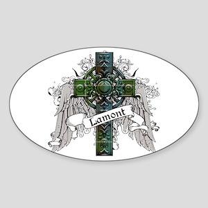 Lamont Tartan Cross Sticker (Oval)