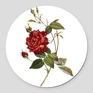 Red Rose Round Car Magnet
