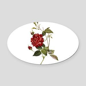 Red Rose Oval Car Magnet