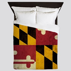 Grunge Maryland Flag Queen Duvet