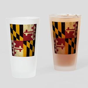 Grunge Maryland Flag Drinking Glass