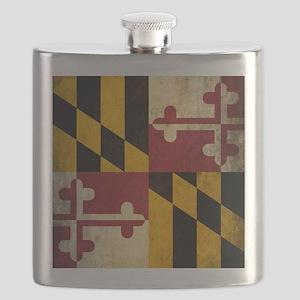 Grunge Maryland Flag Flask