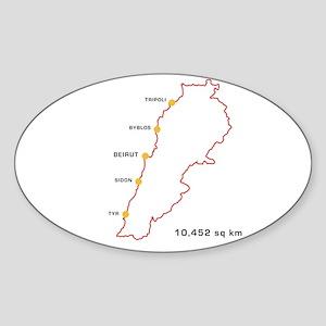 Lebanon Map 10,452 sq km Oval Sticker