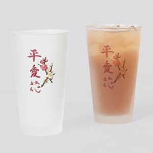 Peace, Love, and Flowers Drinking Glass