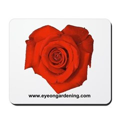Red Heart Shaped Rose Mousepad