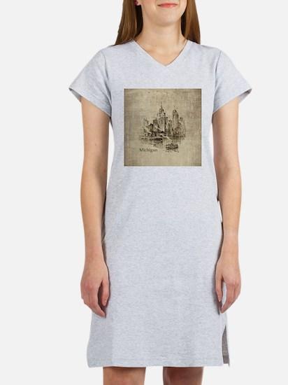 Vintage Michigan Skyline Women's Nightshirt