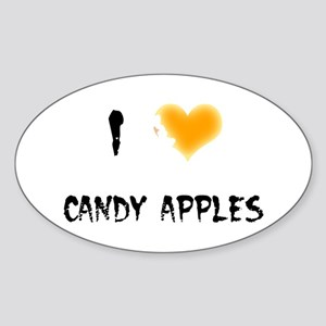 I Love Candy Apples Oval Sticker