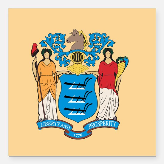"""New Jersey Flag Square Car Magnet 3"""" x 3"""""""