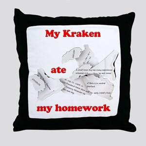 My Kraken ate my homework Throw Pillow