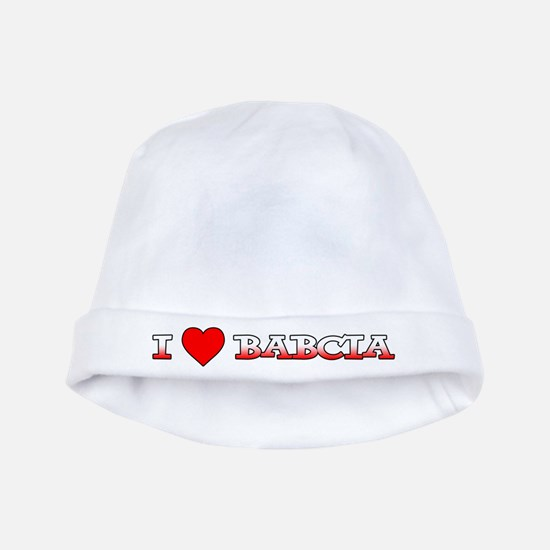 I Love Babcia baby hat