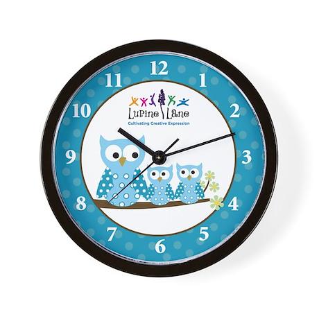 Blue Hoot Owl Wall Clock - Custom Logo for Client