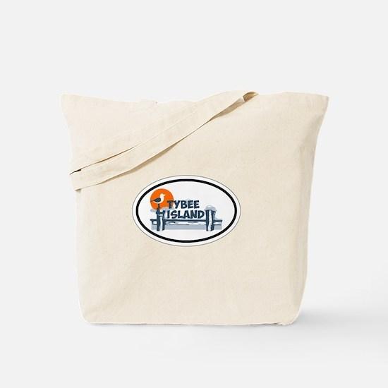 Tybee Island GA - Oval Design. Tote Bag