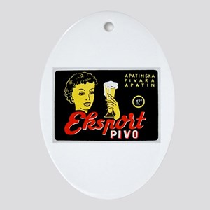Serbia Beer Label 1 Ornament (Oval)