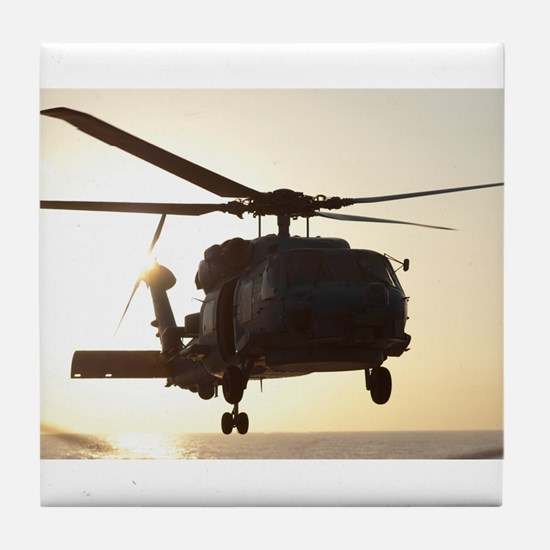 Navy Rescue Helicopter Tile Coaster
