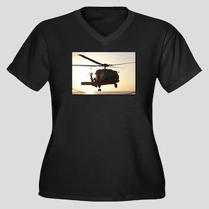 Navy Rescue Helicopter Women's Plus Size V-Neck Da