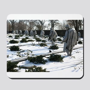 Korean war memorial veterans statues during snow M