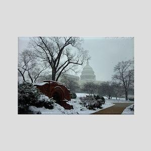 US Capitol Building Snow Photo Rectangle Magnet