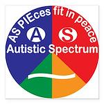 """Autistic Spectrum symbol Square Car Magnet 3"""" x 3"""""""