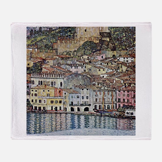 Klimt Malcesine on Lake Garda Throw Blanket