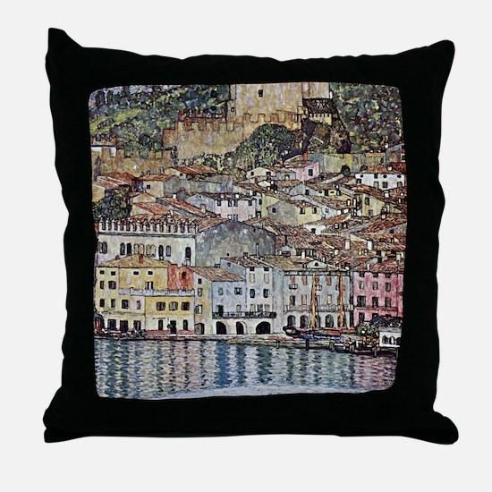 Klimt Malcesine on Lake Garda Throw Pillow