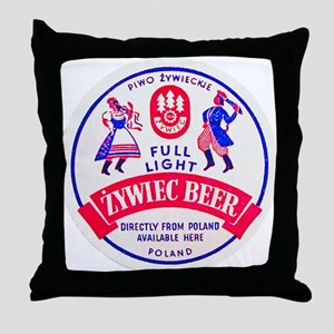 Poland Beer Label 2 Throw Pillow