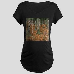 Gustav Klimt Birch Forest Maternity Dark T-Shirt