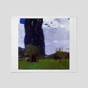 Gustav Klimt The Tall Poplar Trees Throw Blanket