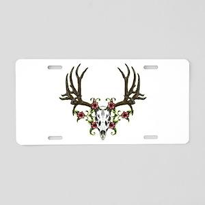 Mule deer,Skull in flowers Aluminum License Plate