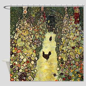 Gustav Klimt Garden Paths With Chickens Shower Cur