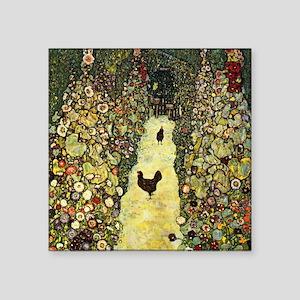 Gustav Klimt Garden Paths With Chickens Square Sti