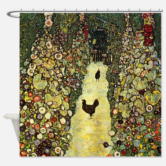 Gustav Klimt Garden Paths With Chickens Shower Cur