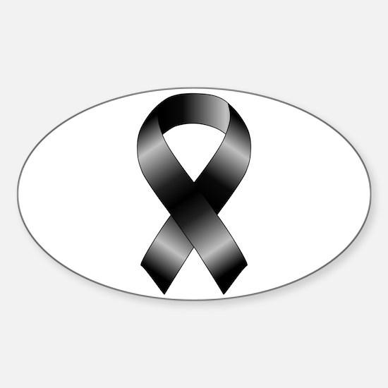 Black Ribbon Sticker (Oval)
