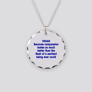 VEGAN because compassion - Necklace Circle Charm