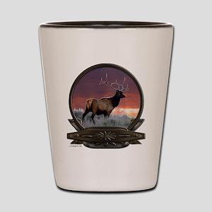 Bull elk at sunset Shot Glass