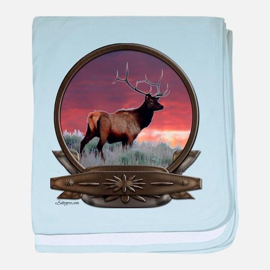 Bull elk at sunset baby blanket