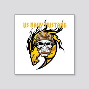 "US Navy Mustang Square Sticker 3"" x 3"""
