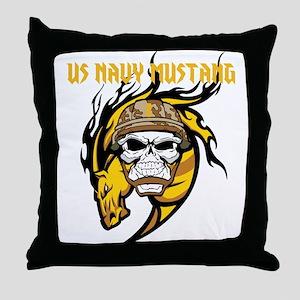 US Navy Mustang Throw Pillow