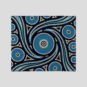 AUSTRALIAN ABORIGINAL ART_BLUE DOT Throw Blanket