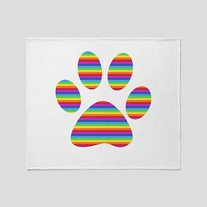 rainbow puppy paw print Throw Blanket