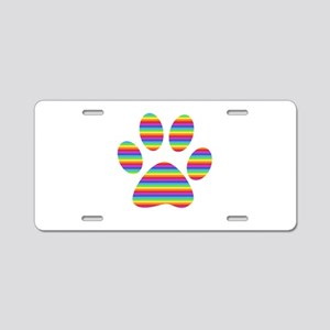 rainbow puppy paw print Aluminum License Plate