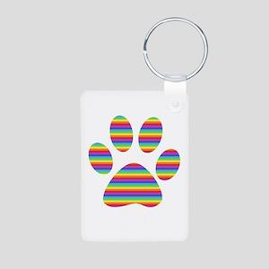 rainbow puppy paw print Aluminum Photo Keychain