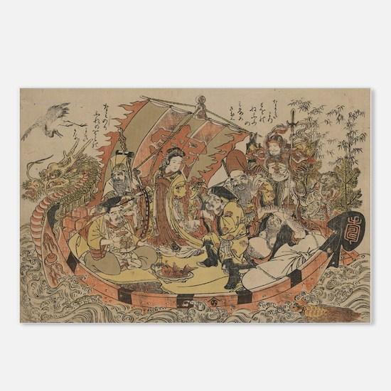 Seven gods of good fortune in the treasure boat -