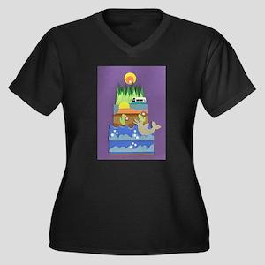 RV Adventure Women's Plus Size V-Neck Dark T-Shirt