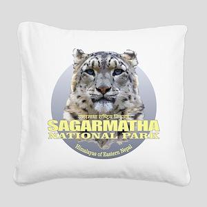 Sagarmatha Snow Leopard Square Canvas Pillow