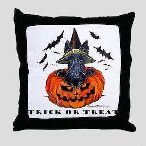 Scottie Witch Throw Pillow