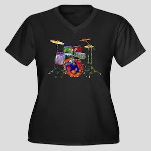 Wild Drums Women's Plus Size V-Neck Dark T-Shirt