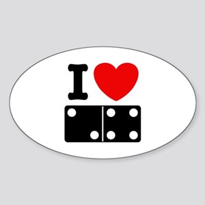 I Love Dominoes Oval Sticker